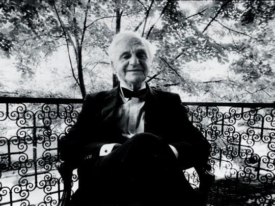 Ion Ratiu on the verandah of his house in Bucharest