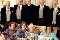 Godfrey Pilkington, Stephen Pilkington, Christopher Pilkington, Ion Ratiu, David Pilkington, (lower row) Eve Pilkington, Pat Pilkington, Elisabeth Ratiu, Mary Pilkington, 1989